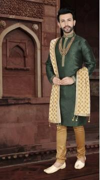 KSROTLK-36009 Traditional Indian Wear Long Kurta made from Jacquard Silk and Cotton Pant