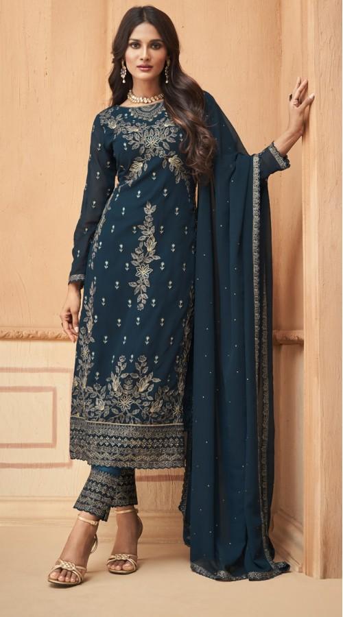 nfmhni96001 TEAL BLUE color Salwar kameez suit