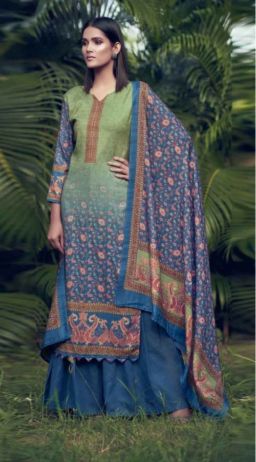nfsmra2004 green and blue semi stitched Suit