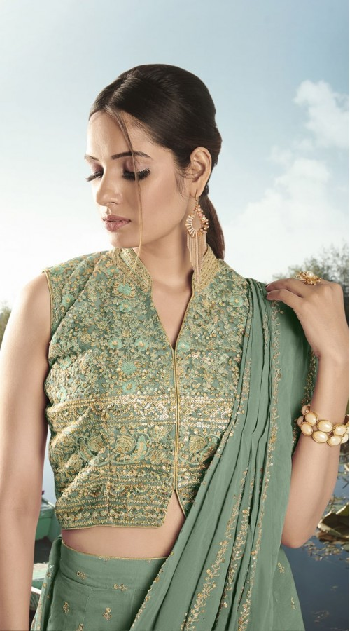 nfvny6-9906 Green pink color Semi stitched Suit