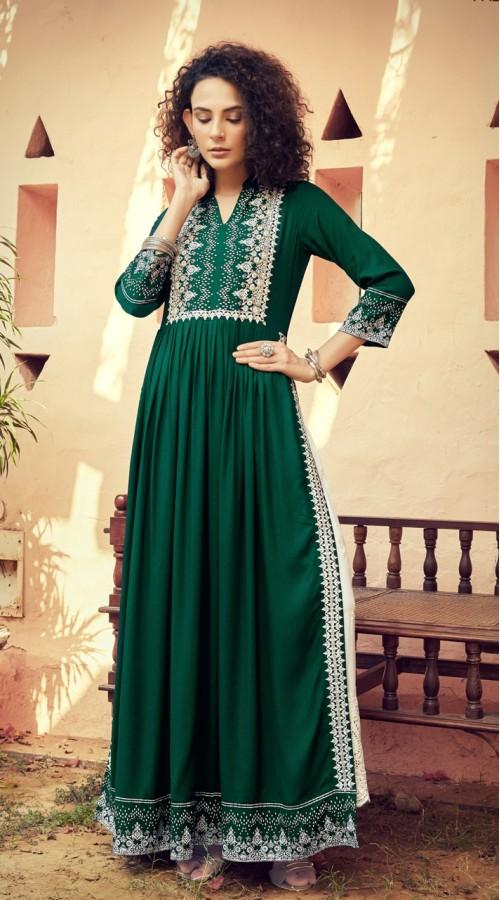 07mskn1100 Green Color Readymade kurti