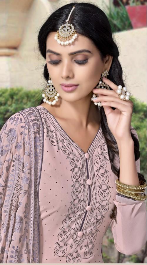 NVFNV3-921 Pink color Semi Stitched Sharara Suit