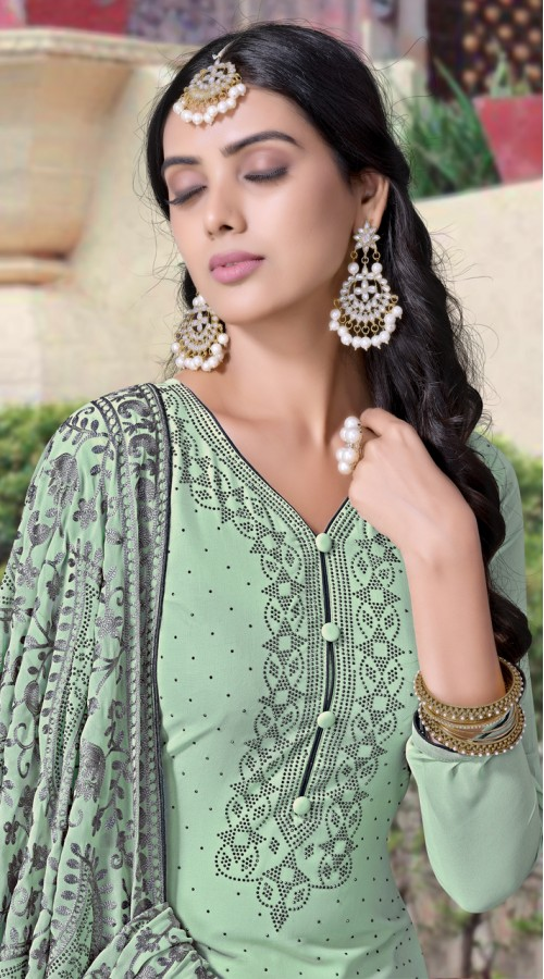 NVFNV3-923 Dusty Green color Semi Stitched Sharara Suit