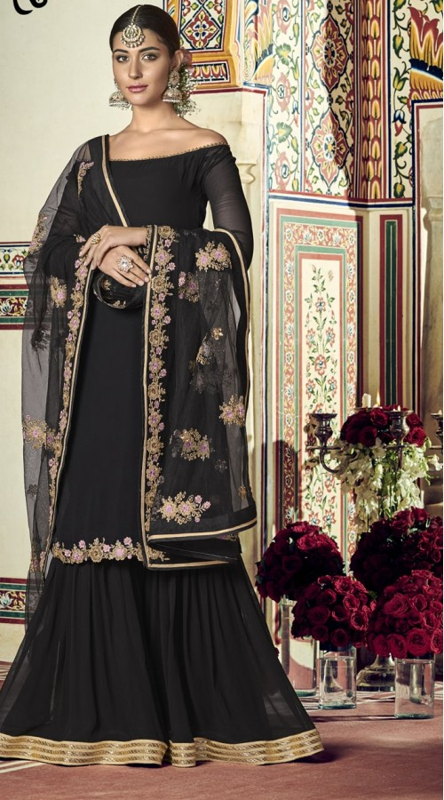 nfrvf103 Black Color Sharara Suit