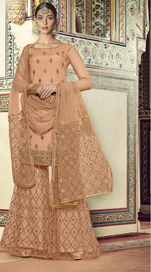 nfrvf104 Peach Color Sharara Suit