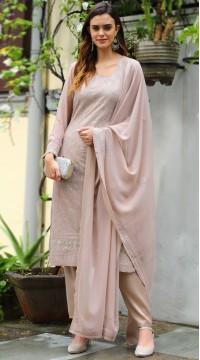 stylddm141-2946 Beige Color Semi Stitched Exclusive Designer Partywear Salwar Suit