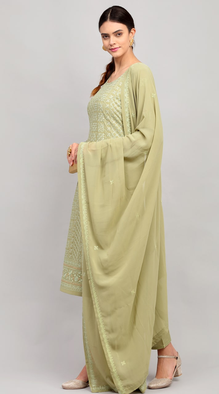 stylddm141-2949 Green Color Semi Stitched Exclusive Designer Partywear Salwar Suit