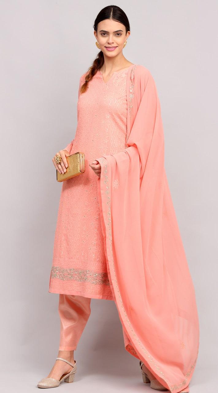 stylddm141-2950 Pink Color Semi Stitched Exclusive Designer Partywear Salwar Suit