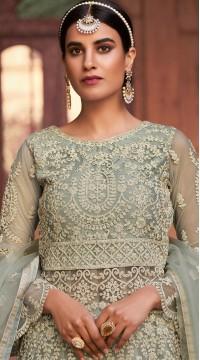 stylddm129-2860 Grey Color Semi Stitched Exclusive Designer Partywear Salwar Suit