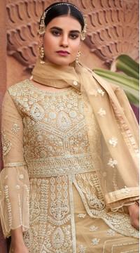 stylddm129-2862 Beige Color Semi Stitched Exclusive Designer Partywear Salwar Suit