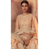 stylddm129-2864 Peach Color Semi Stitched Exclusive Designer Partywear Salwar Suit