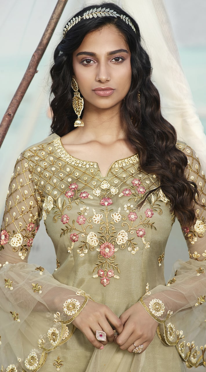 stylddm138-2920 Olive Green Color Exclusive Net Embroidered Suit