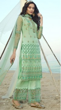stylddm138-2921 Green Color Exclusive Net Embroidered Suit