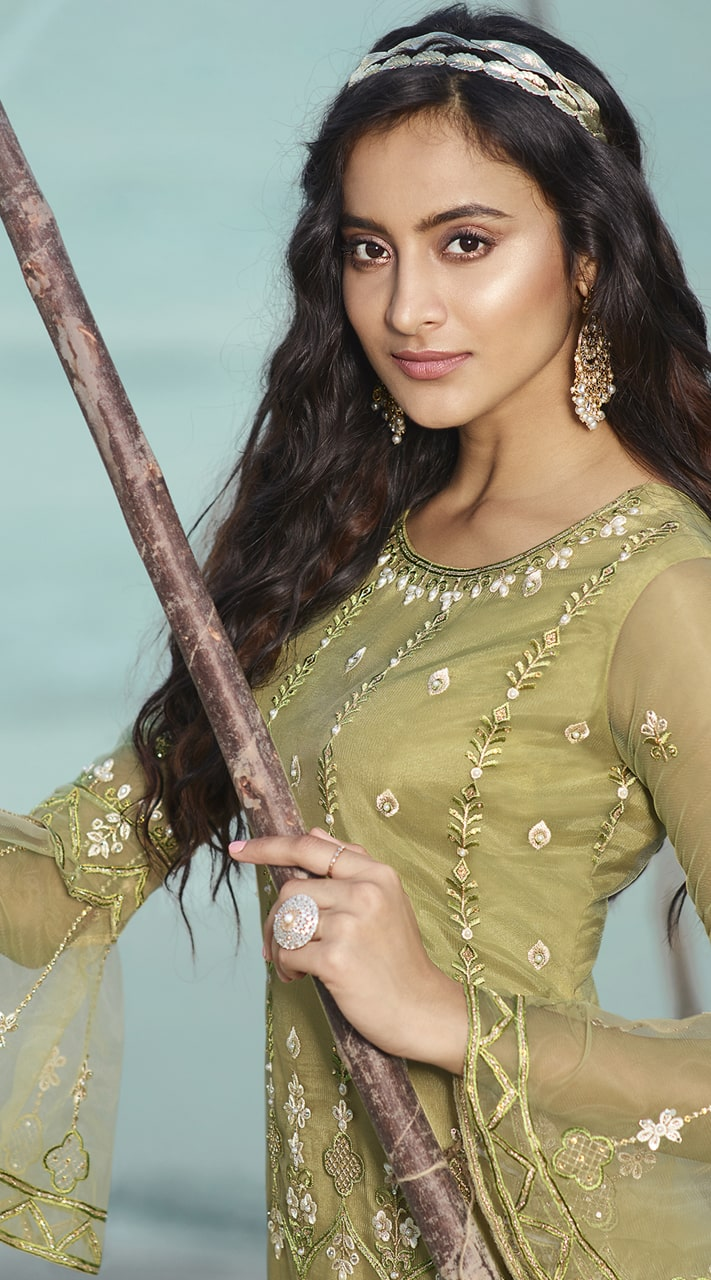 stylddm138-2923 Olive Green Color Exclusive Net Embroidered Suit