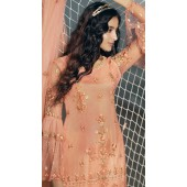 stylddm138-2925 Peach Color Exclusive Net Embroidered Suit