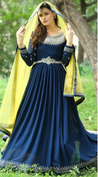 stylddm142-2951 Navy Blue Color Semi Stitched Exclusive Designer Partywear Salwar Suit