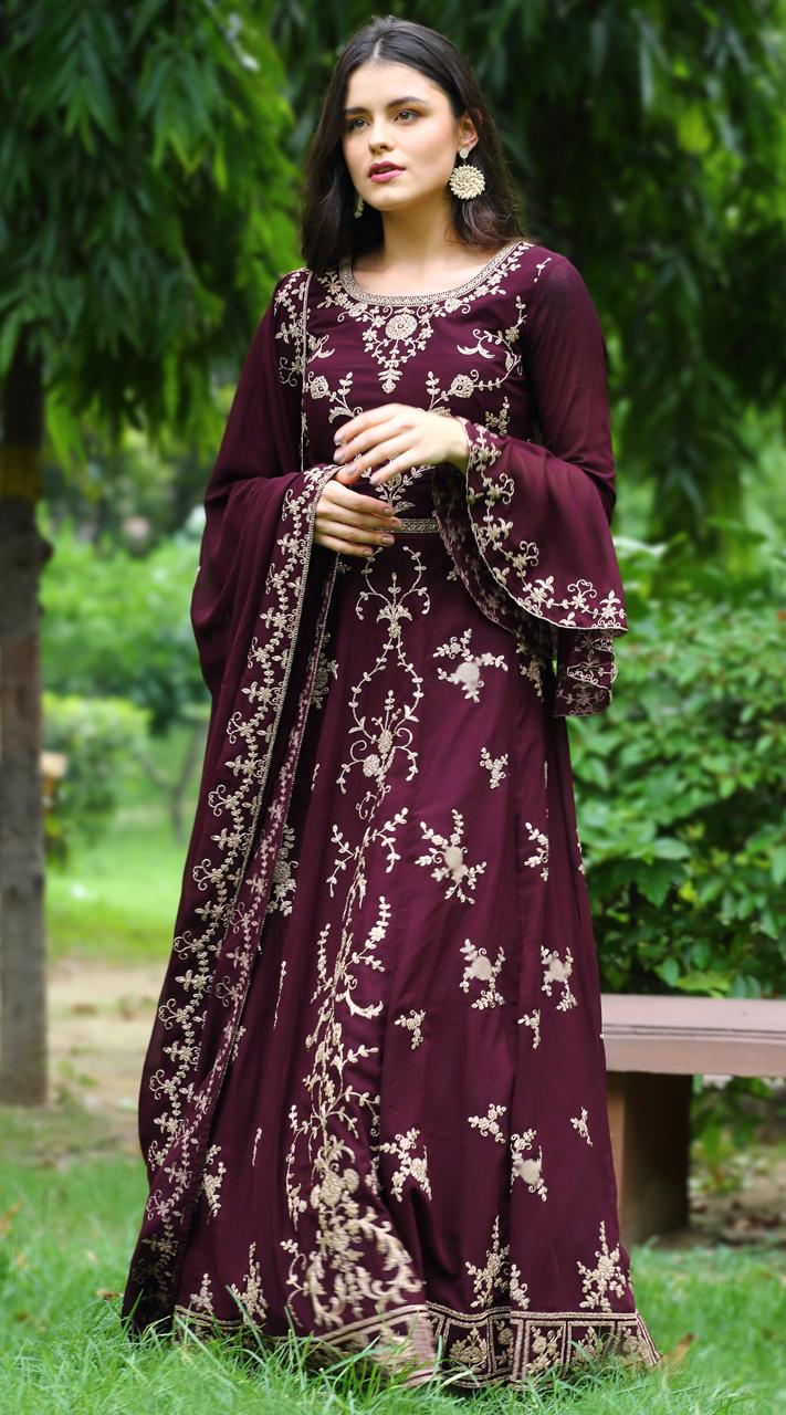 stylddm142-2952 Wine Color Semi Stitched Exclusive Designer Partywear Salwar Suit