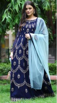 stylddm142-2953 Navy Blue Color Semi Stitched Exclusive Designer Partywear Salwar Suit