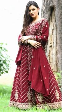 stylddm142-2954 Maroon Color Semi Stitched Exclusive Designer Partywear Salwar Suit