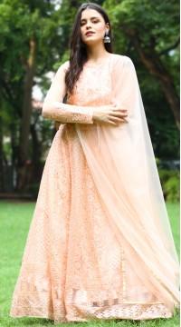 stylddm142-2955 Peach Color Semi Stitched Exclusive Designer Partywear Salwar Suit