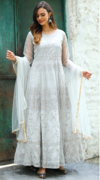 stylddm142-2956 Grey Color Semi Stitched Exclusive Designer Partywear Salwar Suit