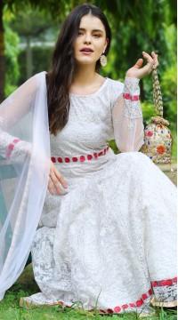 stylddm142-2957 Cream Color Semi Stitched Exclusive Designer Partywear Salwar Suit