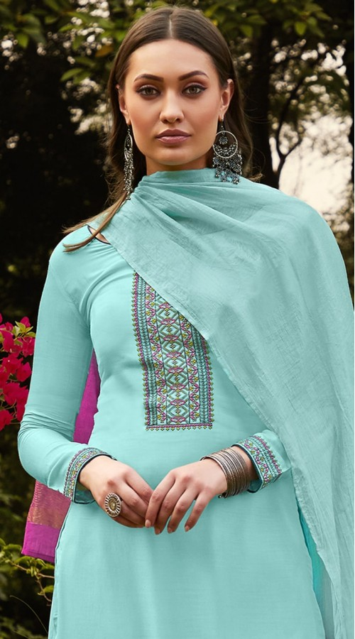stylddm115-2770 Sky Blue Color Exclusive Muslin Embroidered Suit