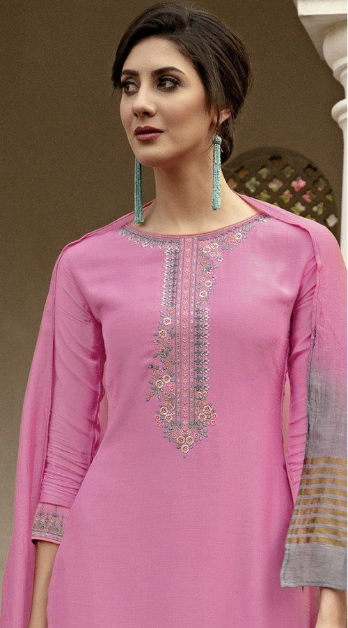stylddm115-2771 Pink Color Exclusive Muslin Embroidered Suit