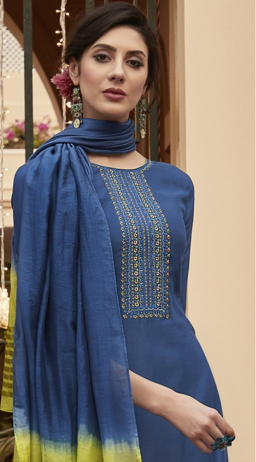 stylddm115-2773 Blue Color Exclusive Muslin Embroidered Suit
