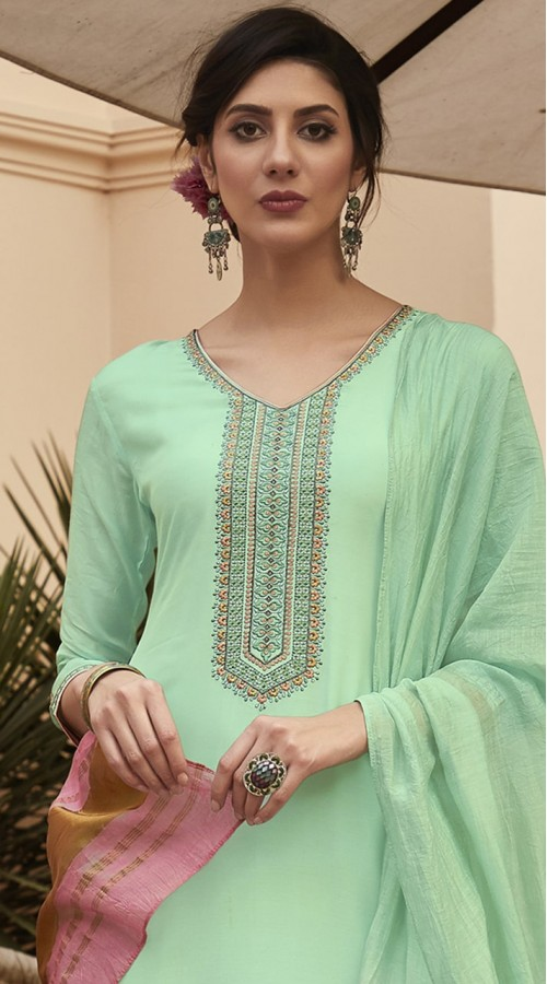 stylddm115-2775 Green Color Exclusive Muslin Embroidered Suit