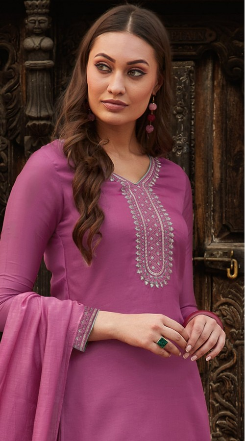 stylddm115-2776 Magenta Color Exclusive Muslin Embroidered Suit