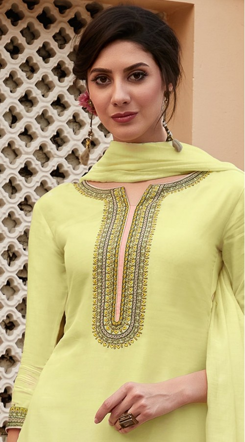 stylddm115-2777 Lemon Yellow Color Exclusive Muslin Embroidered Suit