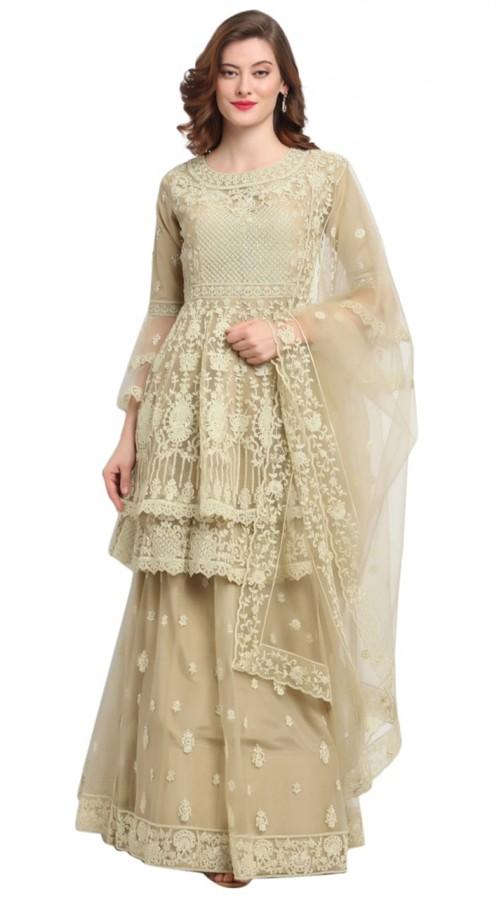 stylddm118-2789 Beige color semi stitched Exclusive Designer Partywear Salwar Suit