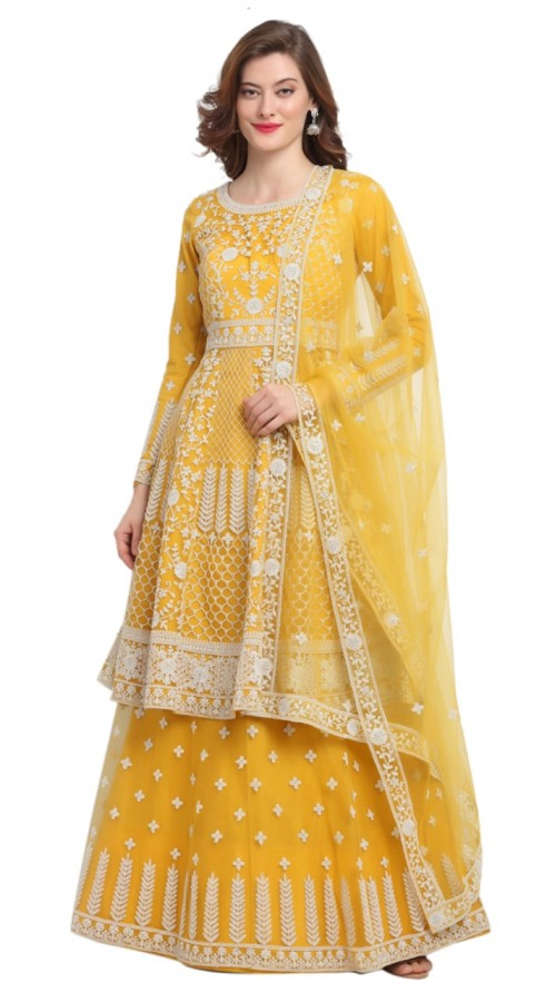 stylddm118-2791 Yellow color semi stitched Exclusive Designer Partywear Salwar Suit