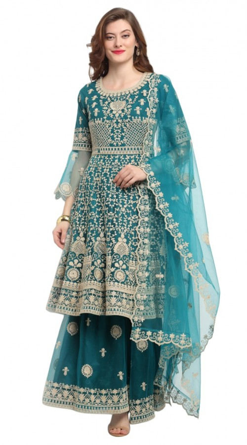stylddm118-2792 Green color semi stitched Exclusive Designer Partywear Salwar Suit