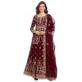 stylddm118-2795 Maroon color semi stitched Exclusive Designer Partywear Salwar Suit