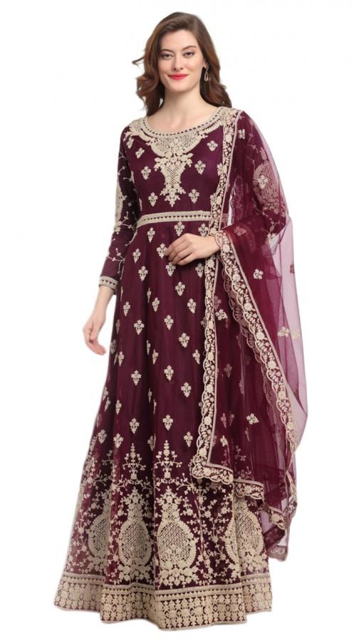 stylddm118-2797 Maroon color semi stitched Exclusive Designer Partywear Salwar Suit