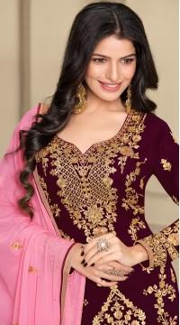 stylddm124-2832 Wine color Semi Stitched Exclusive Designer Partywear Salwar Suit