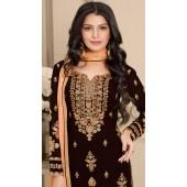 stylddm124-2833 Brown color Semi Stitched Exclusive Designer Partywear Salwar Suit