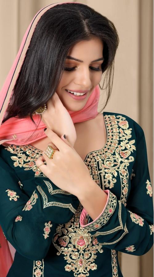 stylddm124-2834 Blue color Semi Stitched Exclusive Designer Partywear Salwar Suit