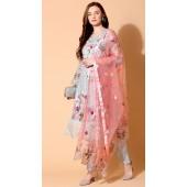 stylddm140-2938 Grey Color Semi Stitched Exclusive Designer Partywear Salwar Suit