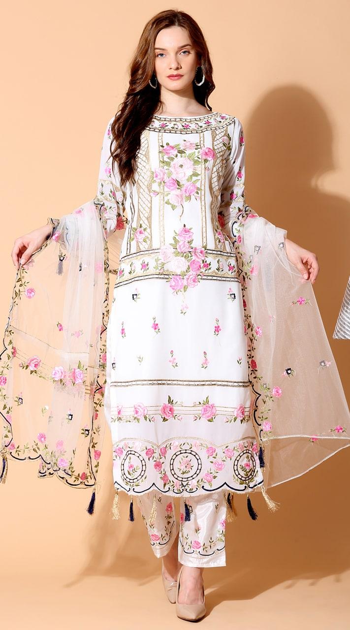 stylddm140-2939 Cream Color Semi Stitched Exclusive Designer Partywear Salwar Suit