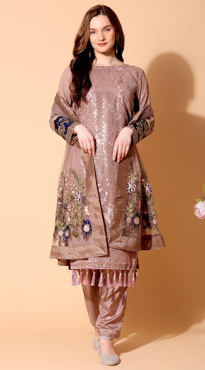 stylddm140-2940 Brown Color Semi Stitched Exclusive Designer Partywear Salwar Suit