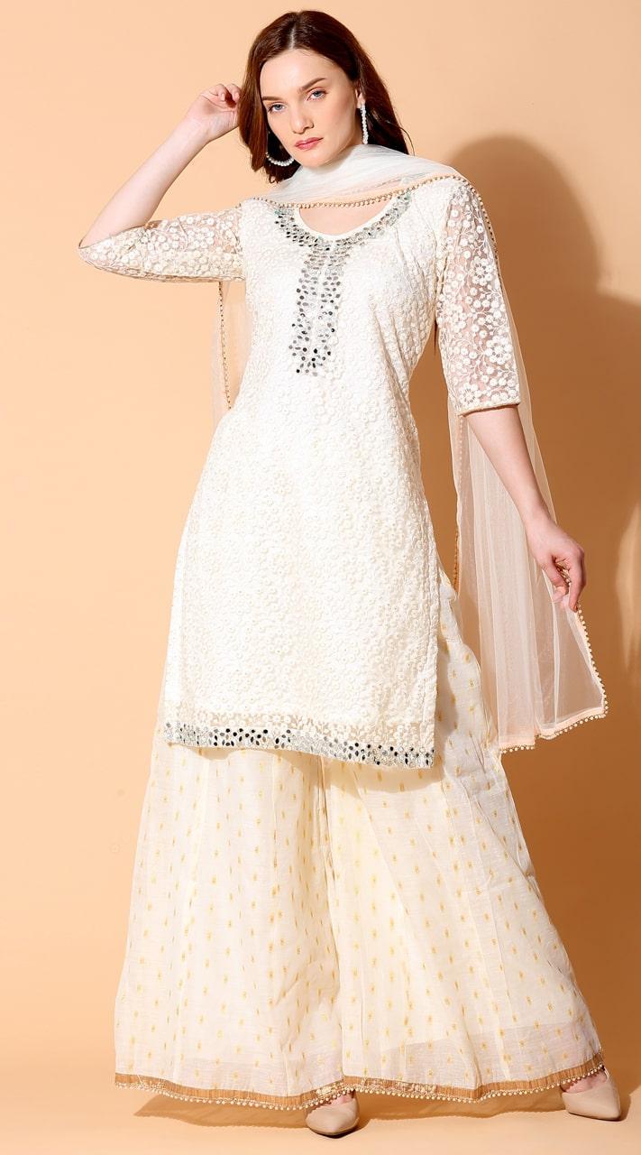 stylddm140-2941 Cream Color Semi Stitched Exclusive Designer Partywear Salwar Suit