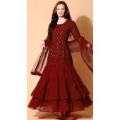 stylddm140-2944 Maroon Color Semi Stitched Exclusive Designer Partywear Salwar Suit
