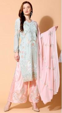 stylddm140-2945 Grey Color Semi Stitched Exclusive Designer Partywear Salwar Suit