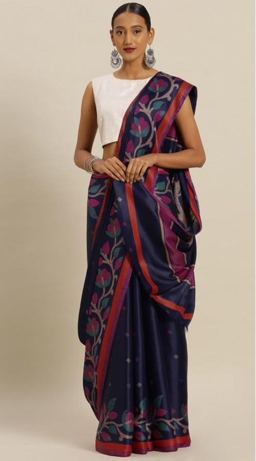 stylsre2338 Navy Blue Tussar Silk Printed Saree