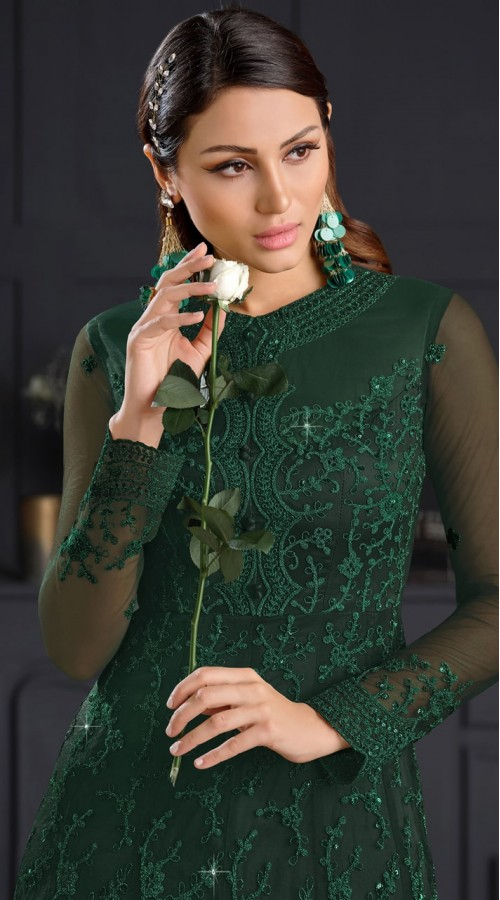 stylddm146-2975 Green color semi stitched Exclusive Designer Partywear Gown