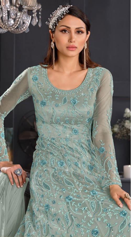 stylddm146-2976 Green color semi stitched Exclusive Designer Partywear Gown