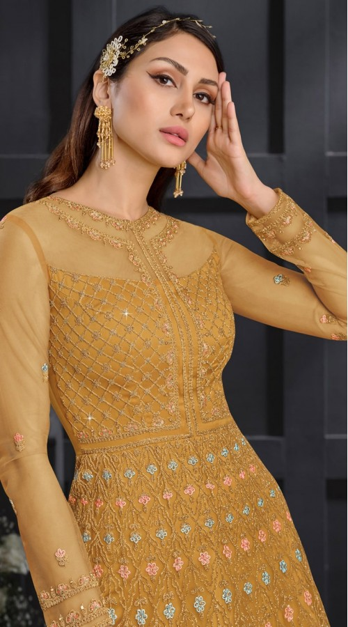 stylddm146-2977 Yellow color semi stitched Exclusive Designer Partywear Gown
